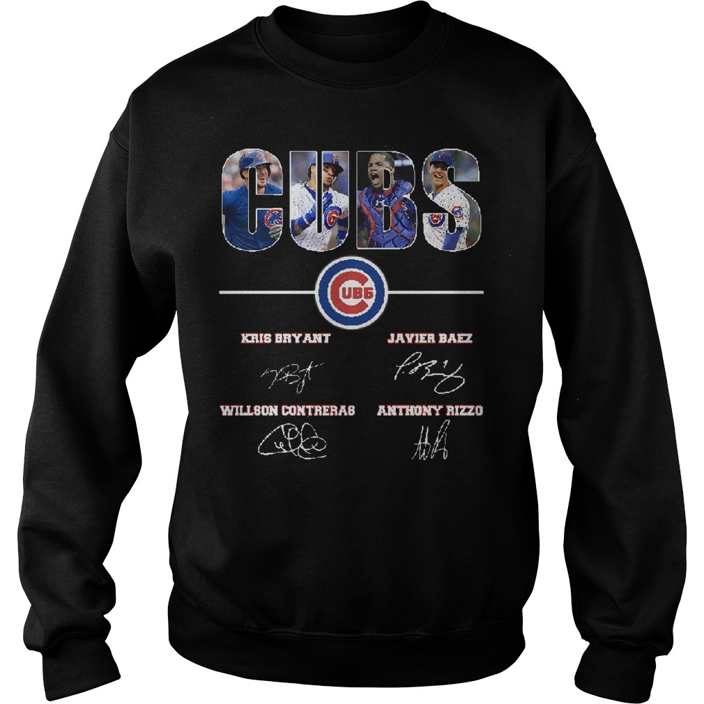 Chicago Cubs Kris Bryant Javier Baez Willson Contreras Anthony Rizzo Signatures Sweater