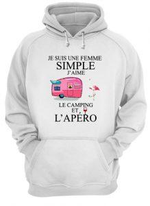 Flamingo Je Suis Une Femme Simple J'aime Le Camping Et L'apéro Hoodie