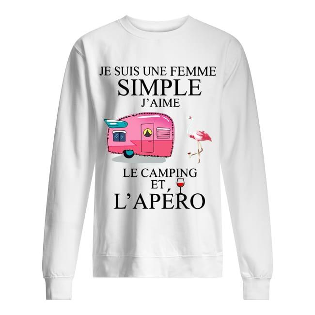 Flamingo Je Suis Une Femme Simple J'aime Le Camping Et L'apéro Sweater