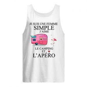 Flamingo Je Suis Une Femme Simple J'aime Le Camping Et L'apéro Tank Top