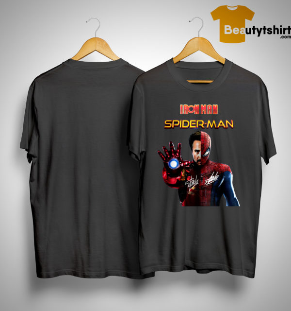 Iron Man And Spider Man Heroes In One Hero Signatures Shirt