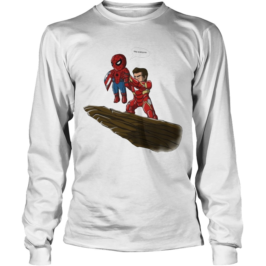 Lion King Spider Man And Iron Man Hey Everyone Long sleeve Tee