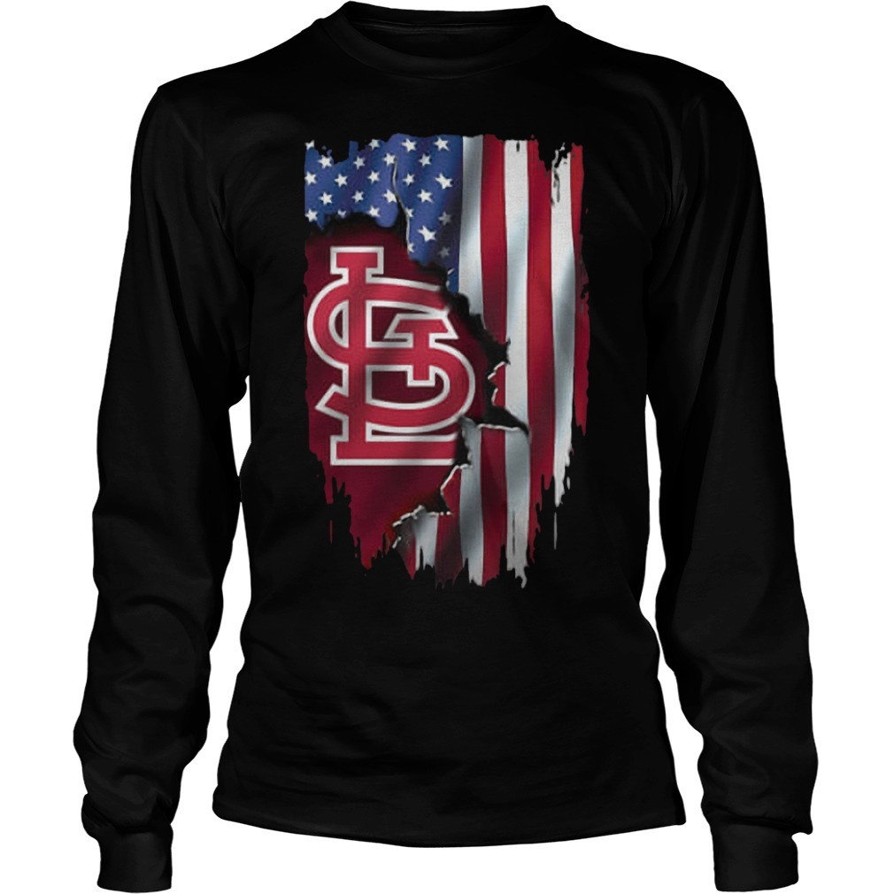 Mashup American Flag StLouis Cardinals MLB Long Sleeve Tee