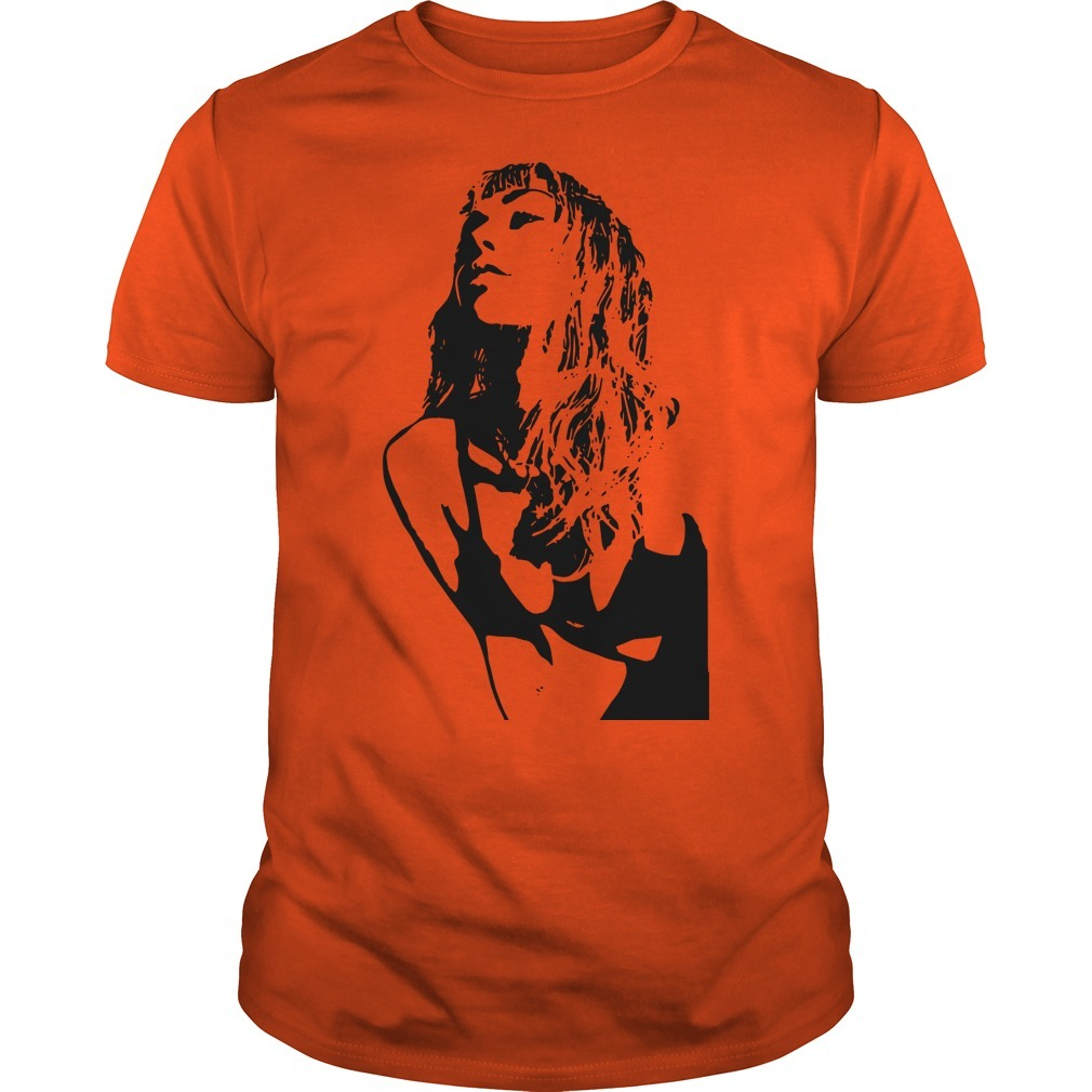 Miley Cyrus Pose Orange Gildan Fitted Guys Tee