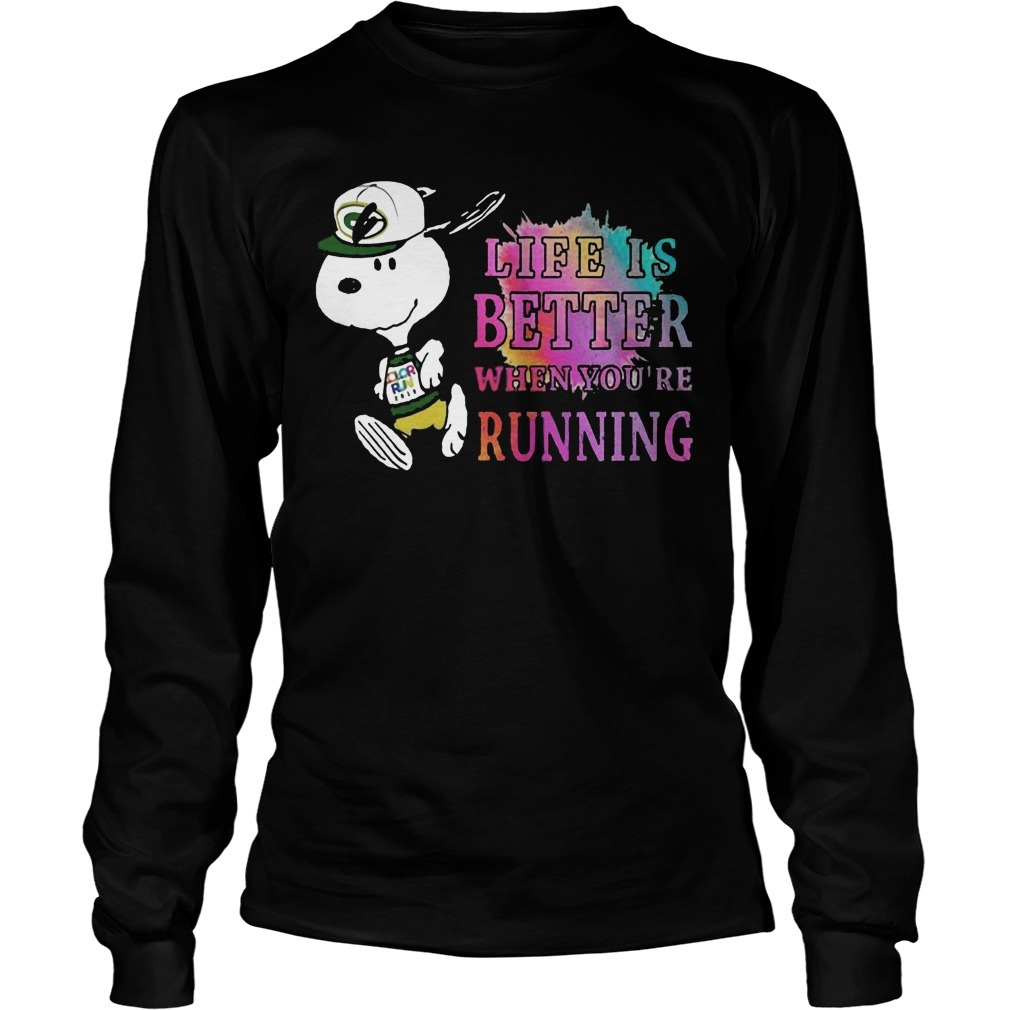 Snoopy Green Bay Packers Life Is Better When You're Running Longsleeve Tee