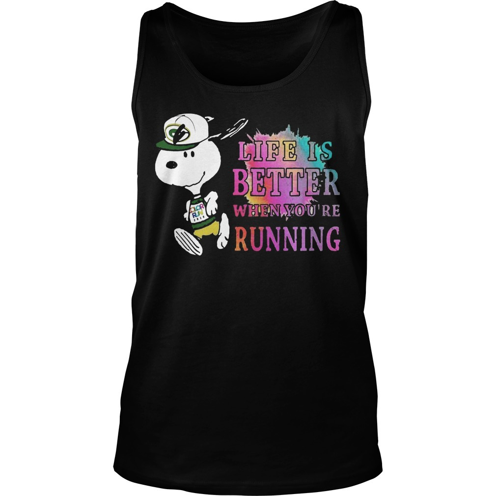 Snoopy Green Bay Packers Life Is Better When You're Running Tank Top