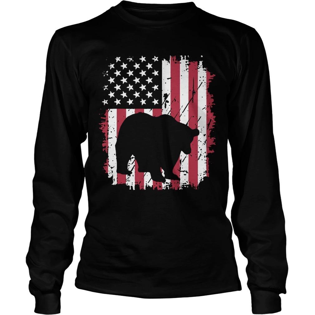 Vintage American Flag 4th Of July Patriotic Panda Bear Long Sleeve Tee
