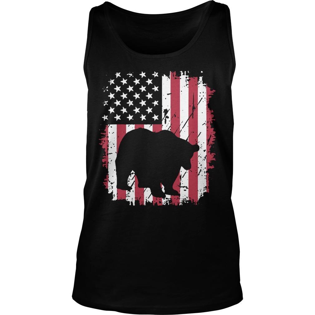 Vintage American Flag 4th Of July Patriotic Panda Bear Tank Top