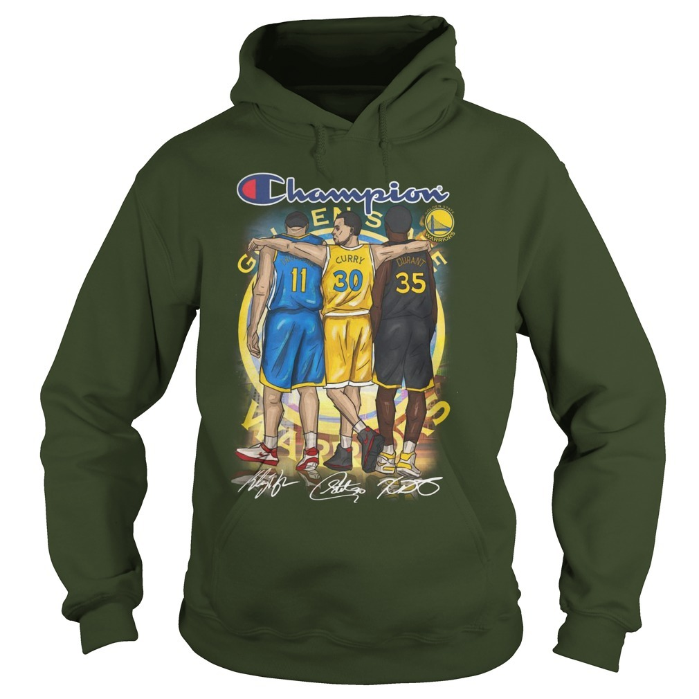 Warriors Champion Steph Curry Klay Thompson And Kevin Durant Signatures Hoodie