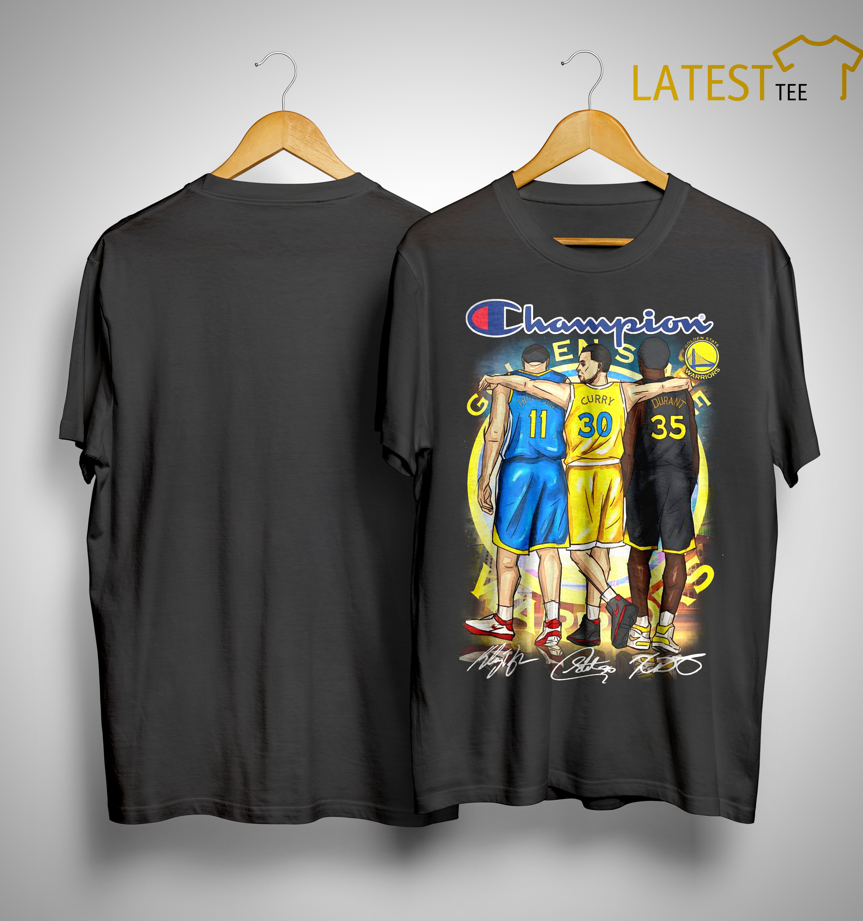 outlet store 8deb4 33624 Warriors Champion Steph Curry Klay Thompson And Kevin Durant Signatures  Shirt