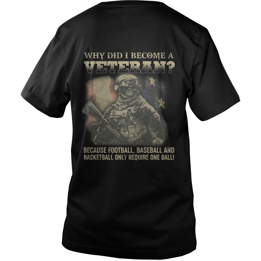 Why Did I Become A Veteran Because Football Baseball And Basketball Guys V neck Shirt