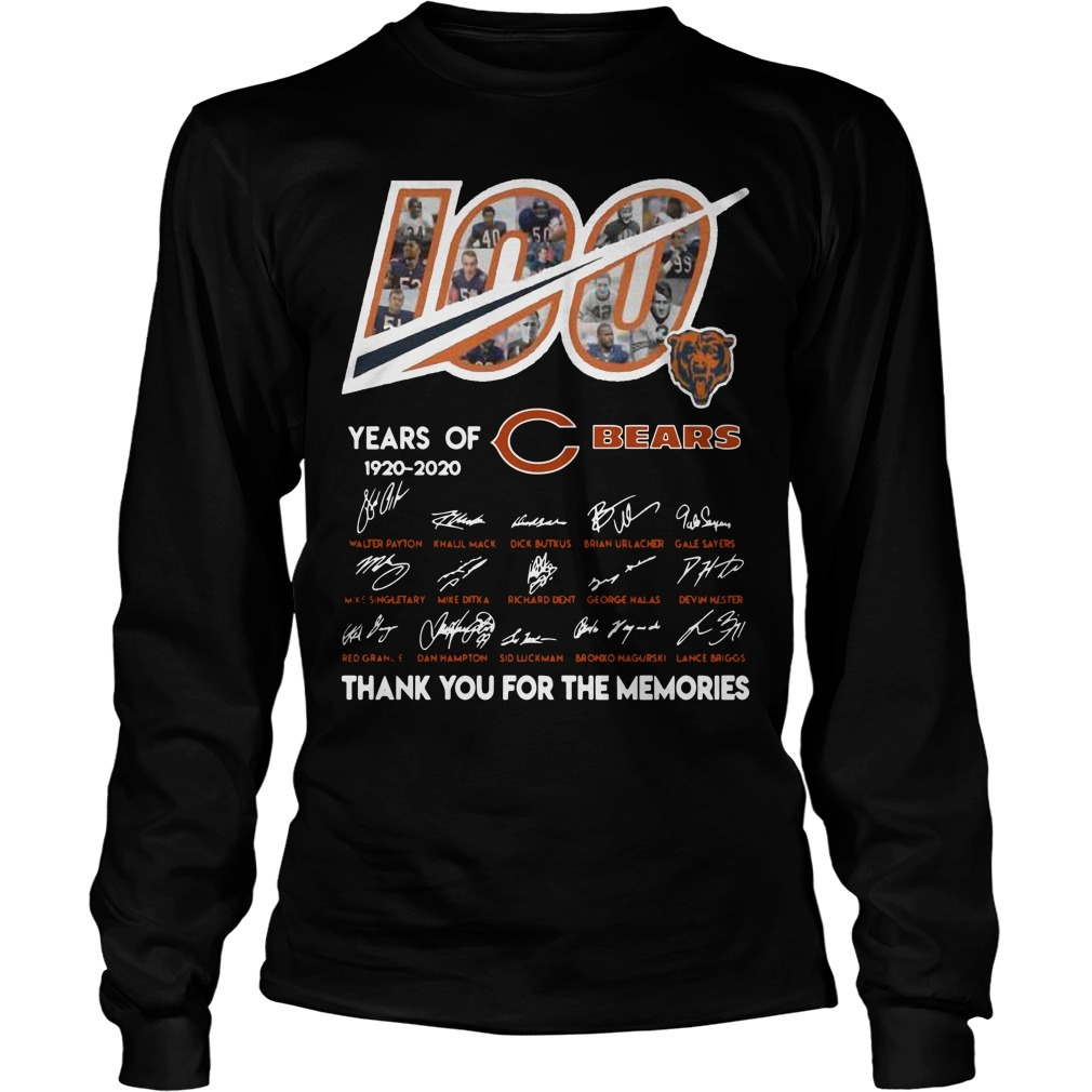 100 Years Of Chicago Bears 1920 2020 Thanks For The Memories Longsleeve Tee