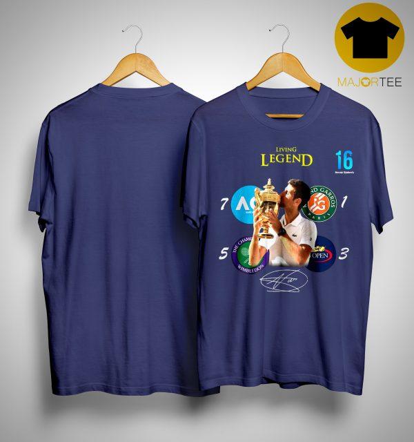 16 Novak Djokovic Living Legend Signature Champion Wimbledon 2019 Shirt