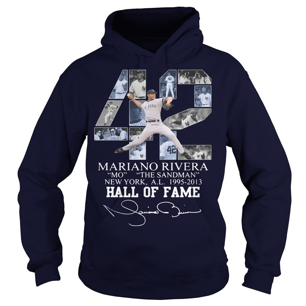 42 Mariano Rivera Mo The Sandman New York 1995 2013 Hall Of Fame Hoodie