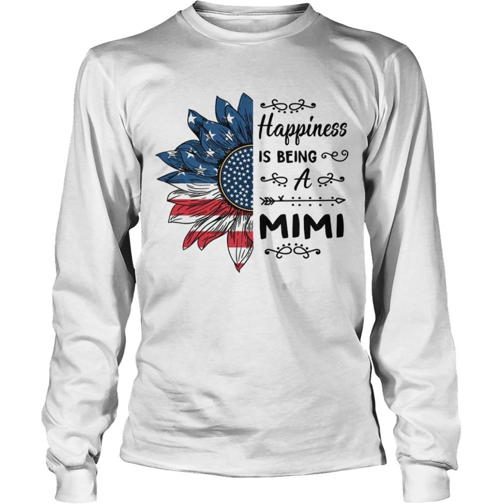American Flag Sunflower Happiness Is Being A Mimi Longsleeve