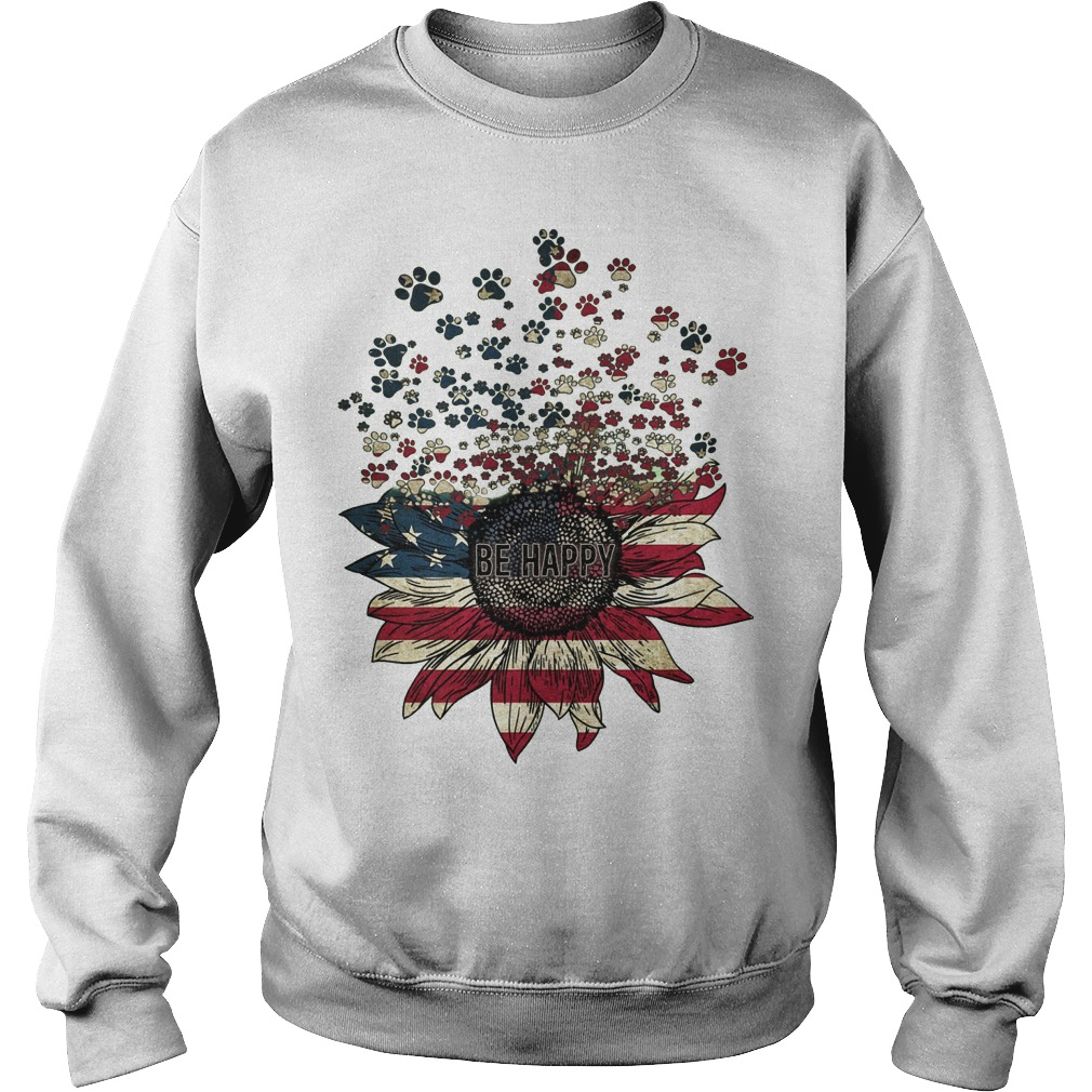 American Flag Sunflower Paw Dogs Be Happy Sweater