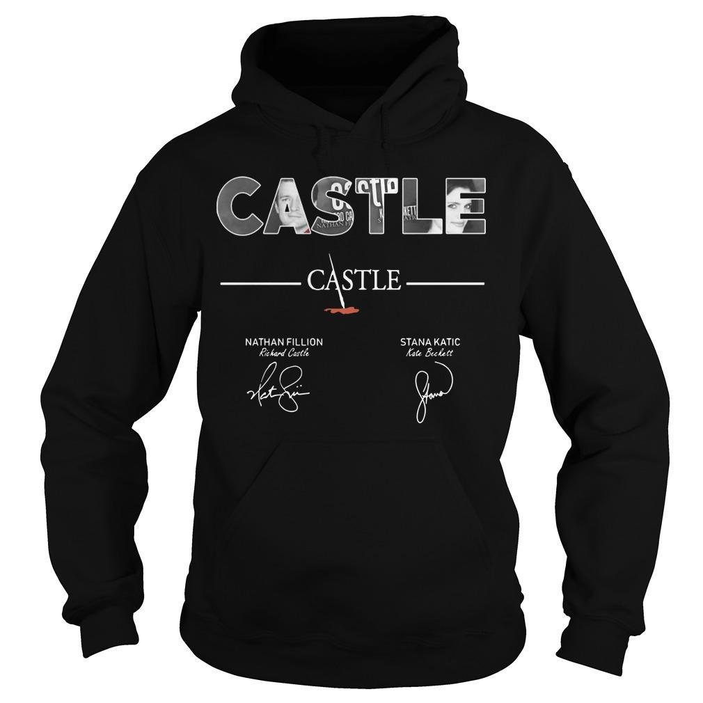 Castle Nathan Fillion Stana Katic Signatures Hoodie