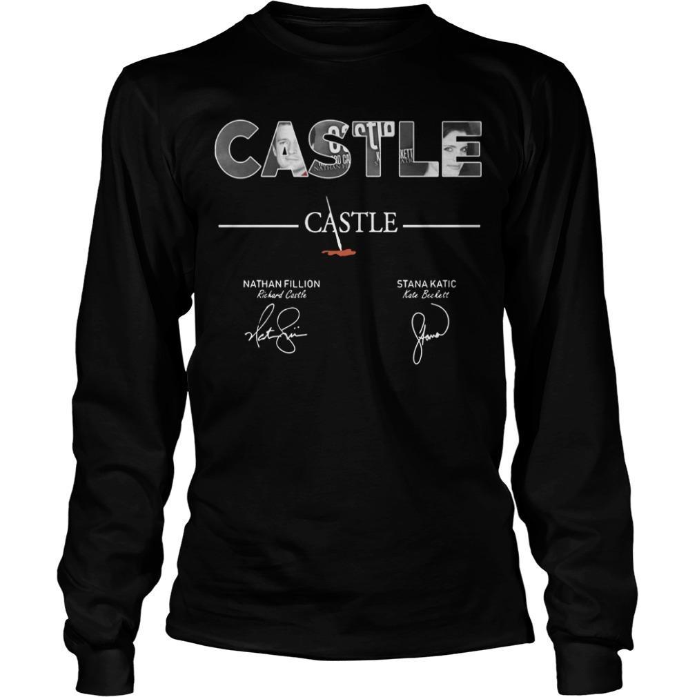 Castle Nathan Fillion Stana Katic Signatures Longsleeve