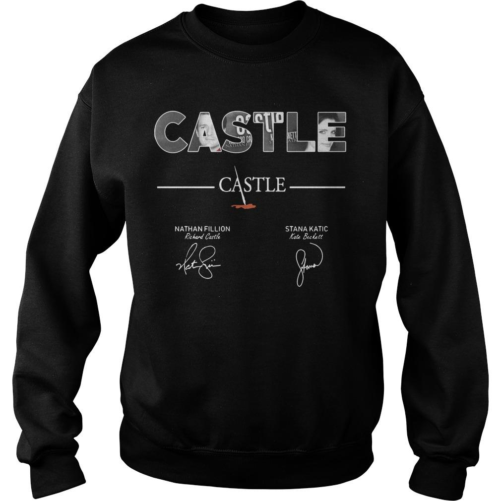 Castle Nathan Fillion Stana Katic Signatures Sweater