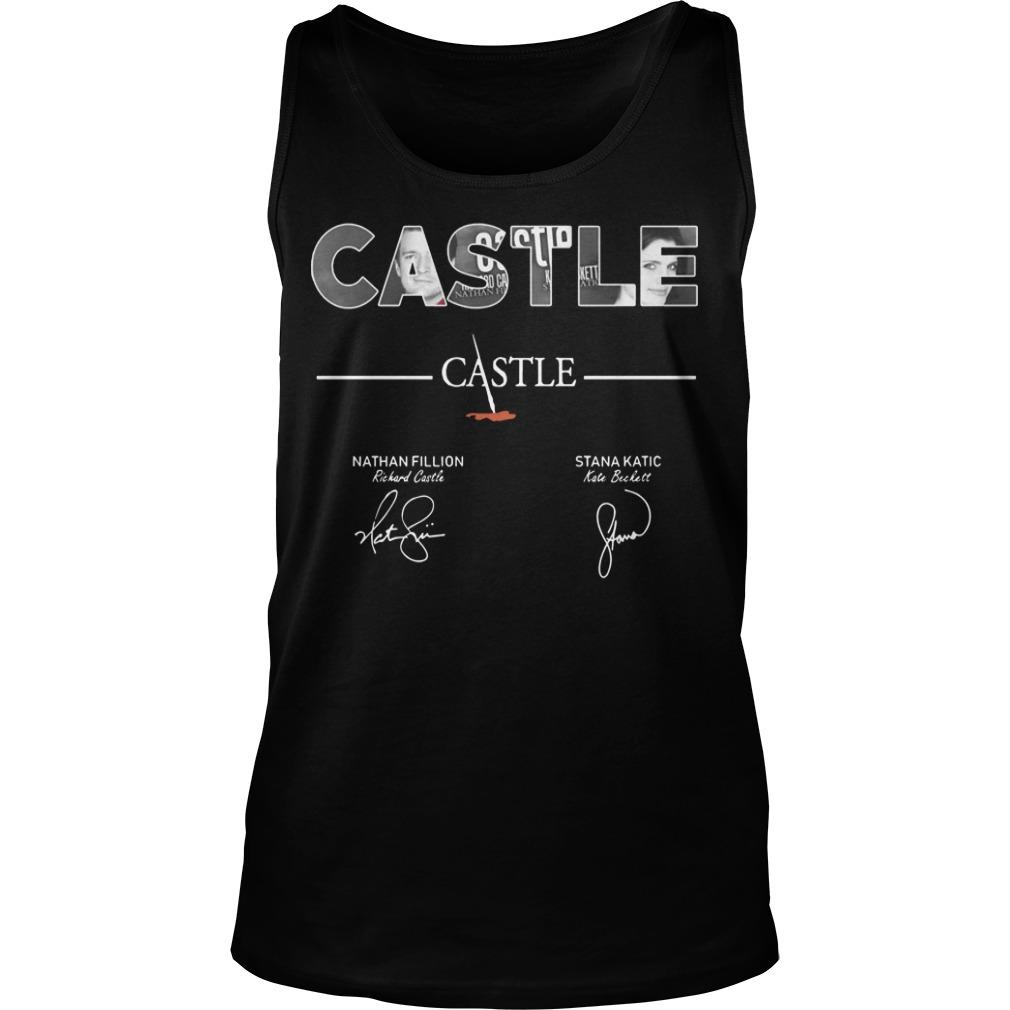 Castle Nathan Fillion Stana Katic Signatures Tank Top