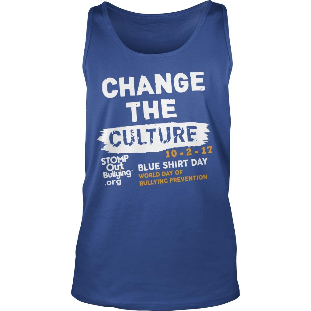Change The Culture Blue Day World Day Of Bullying Prevention 2019 Tank Top