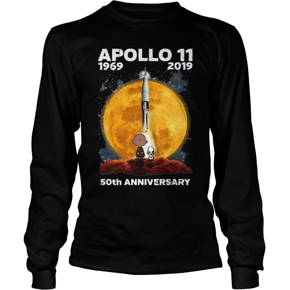 Charlie And Snoopy Apollo 11 1969 2019 50th Anniversary Longsleeve Tee