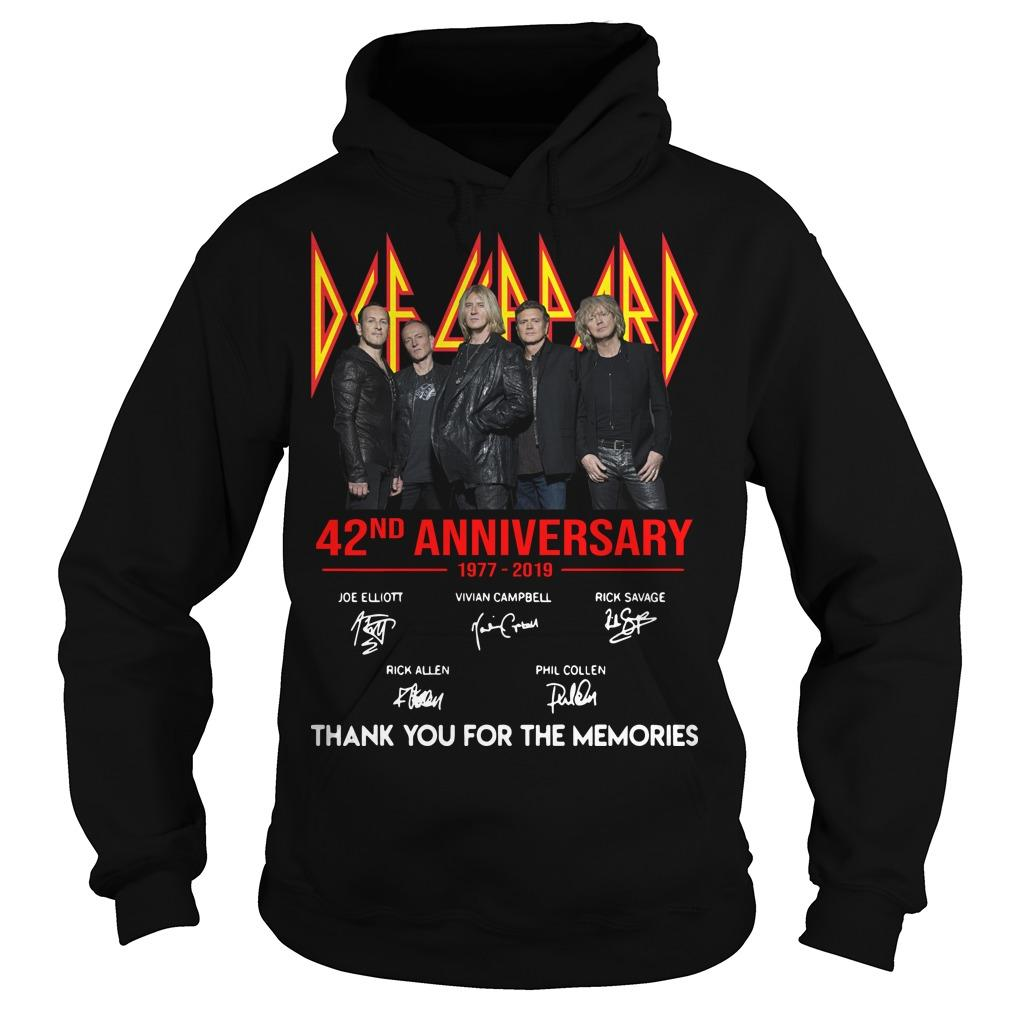 Def Leppard 42 Anniversarry 1977 2019 Thank You For The Memories Hoodie