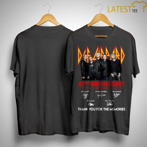 Def Leppard 42 Anniversarry 1977 2019 Thank You For The Memories Shirt