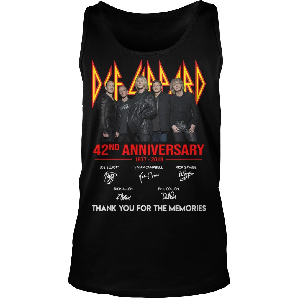 Def Leppard 42 Anniversarry 1977 2019 Thank You For The Memories Tank Top