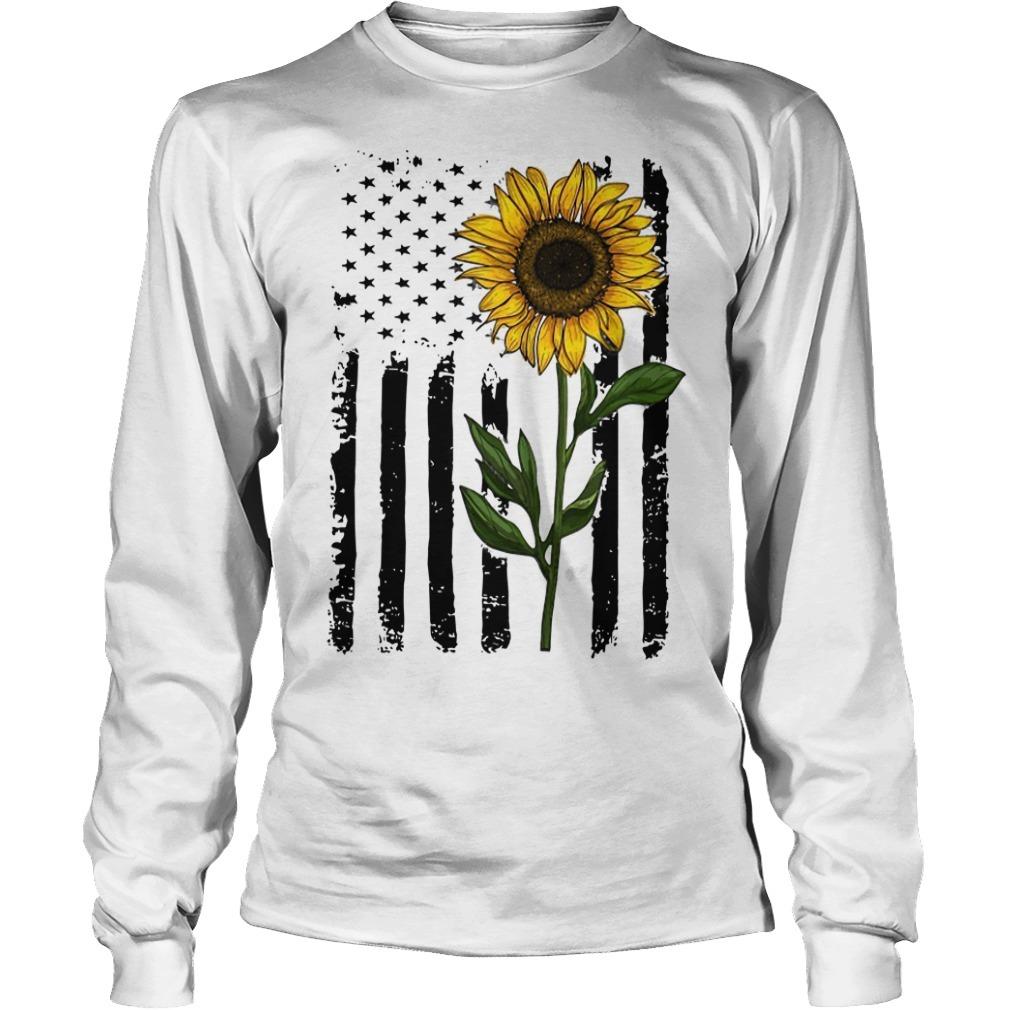 Hippie Vintage American Flag Sunflower Longsleeve Tee