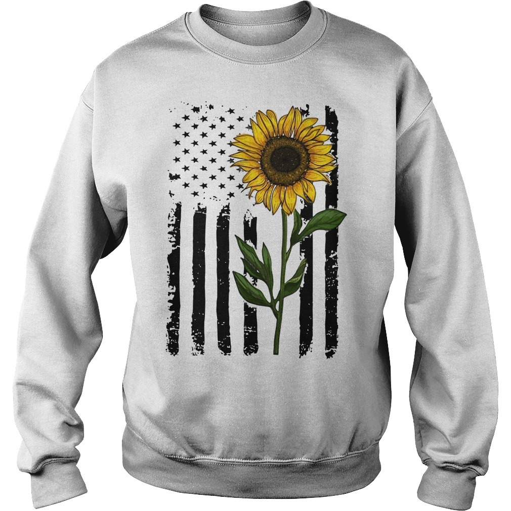 Hippie Vintage American Flag Sunflower Sweater