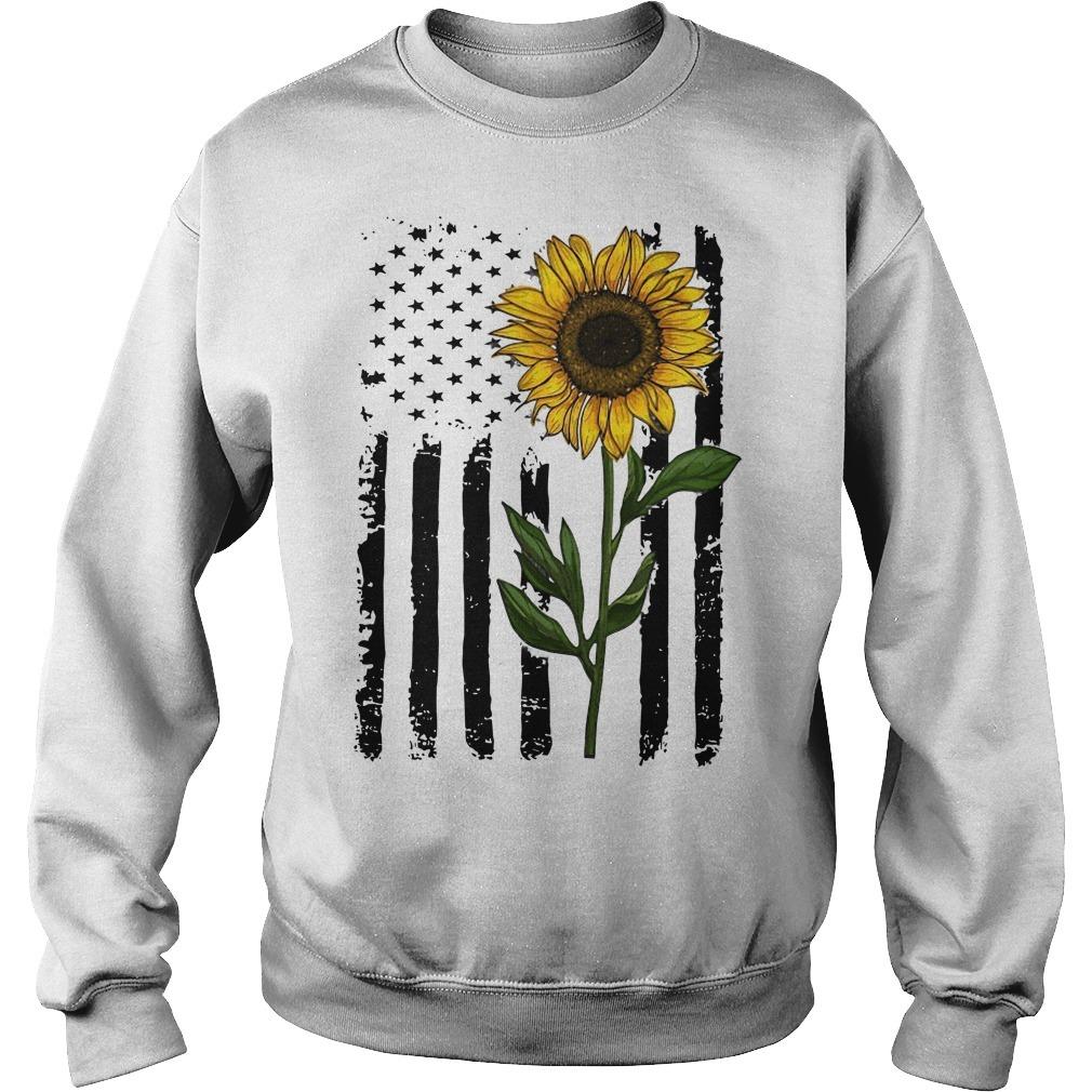 Hippie Vintage American Flag Sunflower Sweater