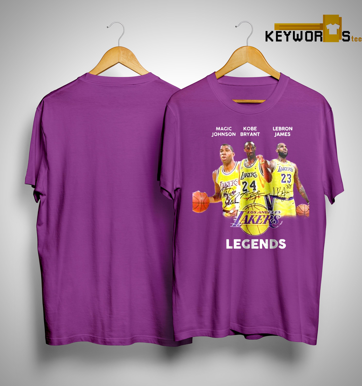 best sneakers 6a4cc ecce9 Los Angeles Lakers Legend Magic Johnson Kobe Bryant Kareem Abdul Jabbar  Shirt