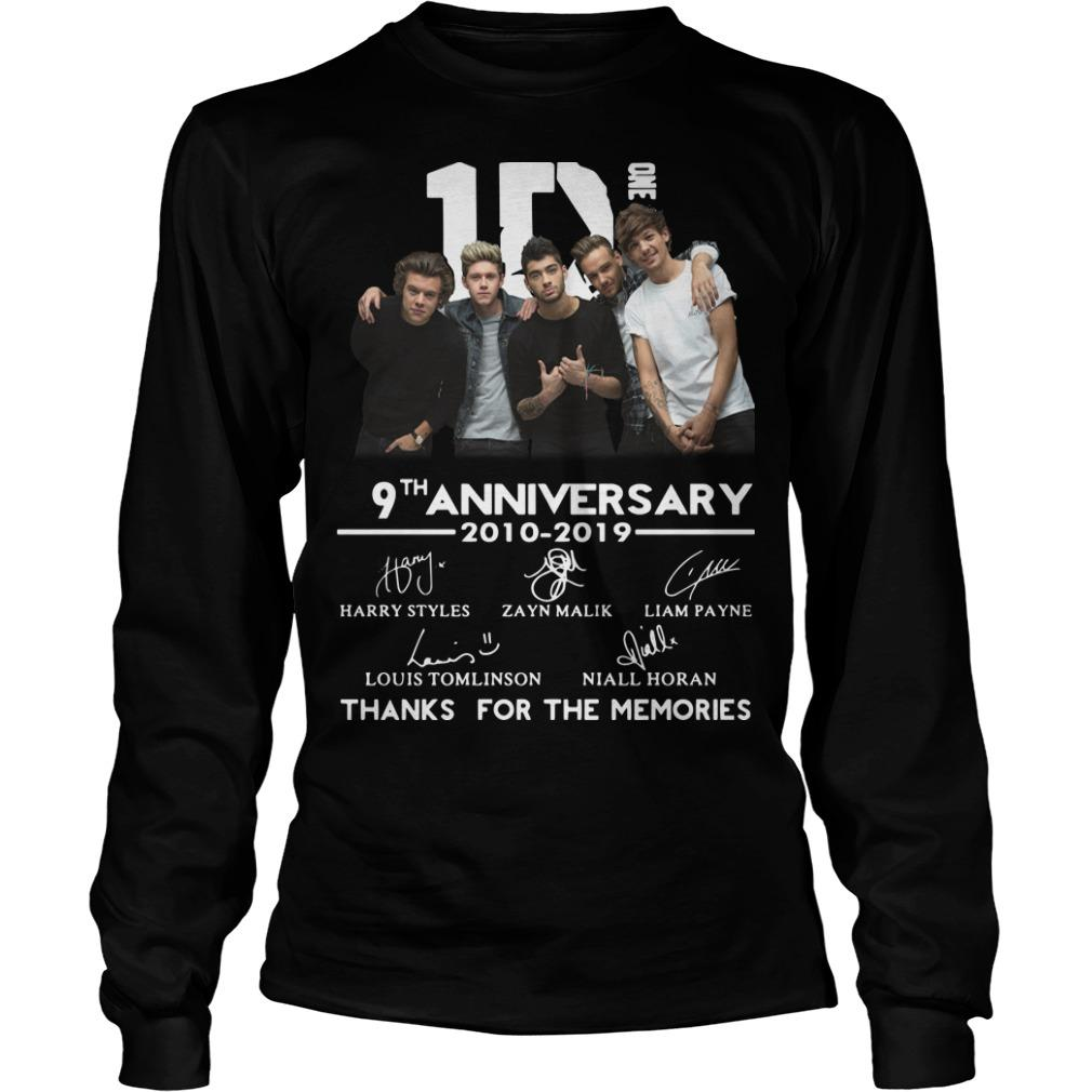 One Direction 9th Anniversary 2010 2019 Thanks For The Memories Longsleeve