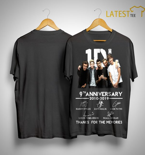 One Direction 9th Anniversary 2010 2019 Thanks For The Memories Shirt