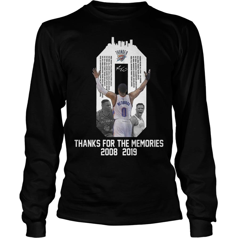 Russell Westbrook Thanks For The Memories 2008 2019 Longsleeve