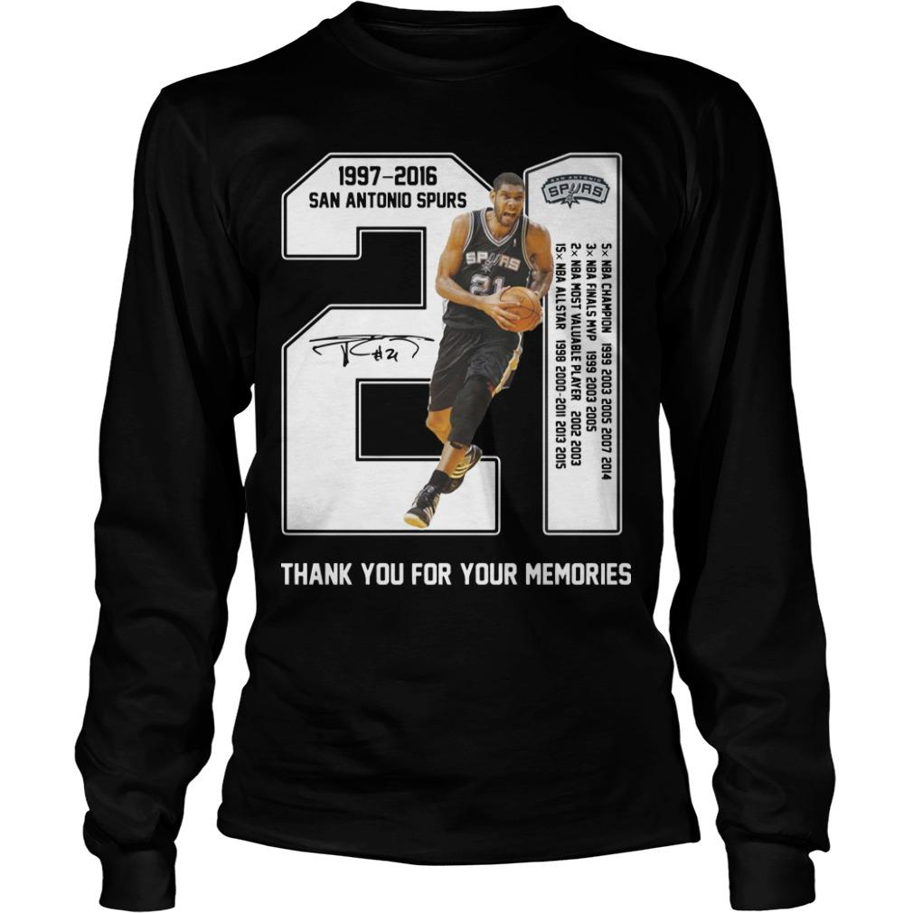 San Antonio Spurs 1997 2017 Thank You For The Memories Longsleeve