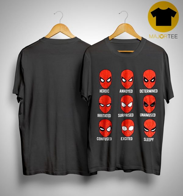 Spiderman Face Heroic Annoyed Determined Shirt
