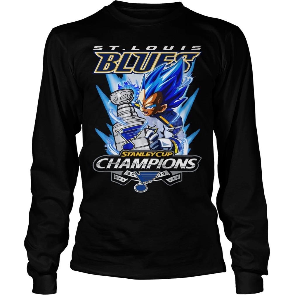 St Louis Blue Vegeta Stanley Cup Champions Longsleeve Tee