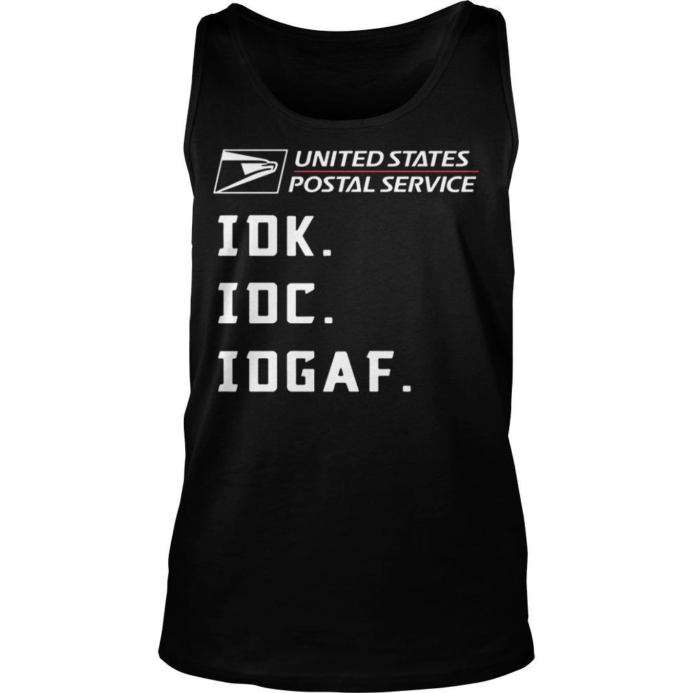 United States Postal Service Idk Idc Idgaf Tank Top