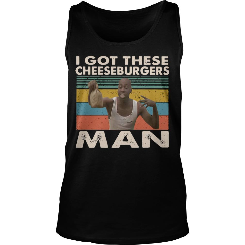 Vintage Black Man I Got These Cheeseburgers Man Tank Top