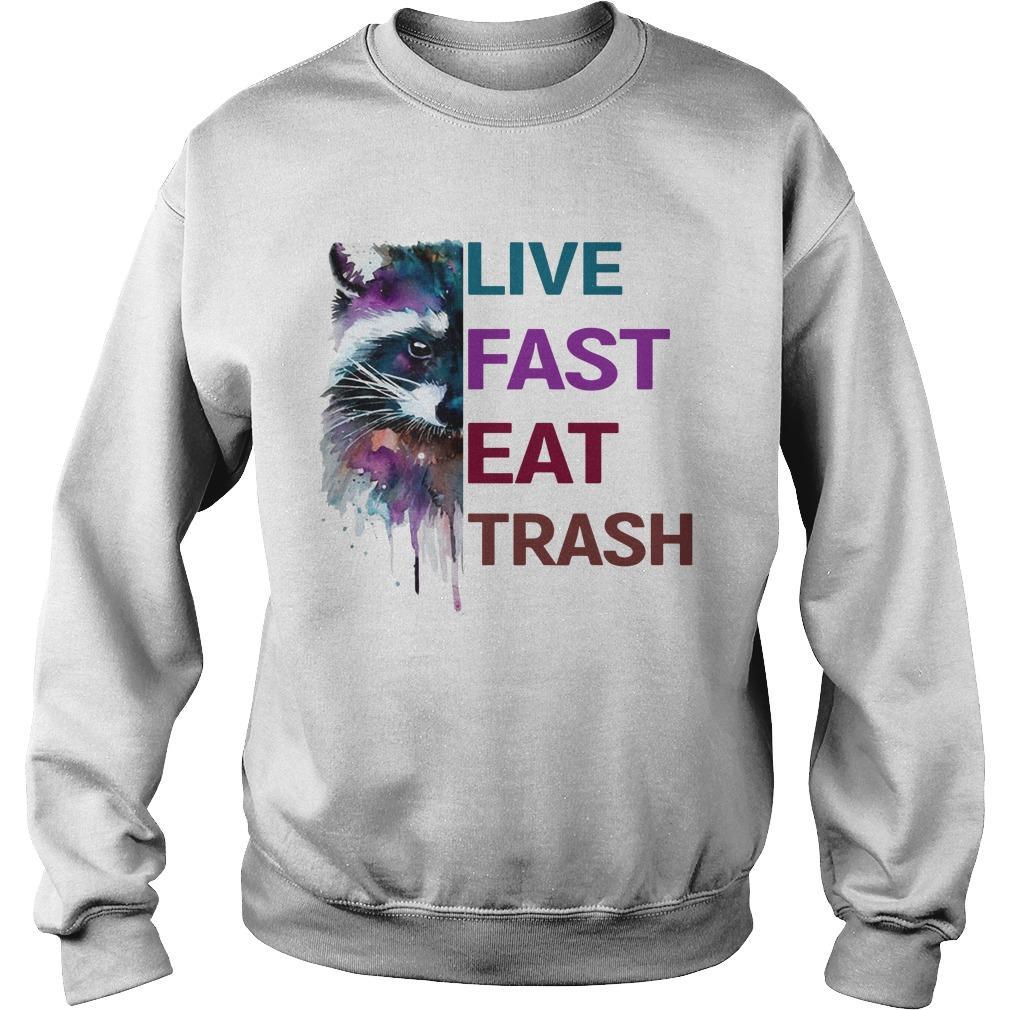 Water Color Raccoon Live Fast Eat Trash Sweater