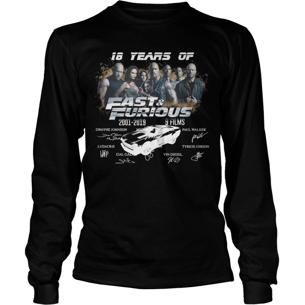 18 Years Of Fast And Furious 2001 2019 9 Films Signatures Longsleeve