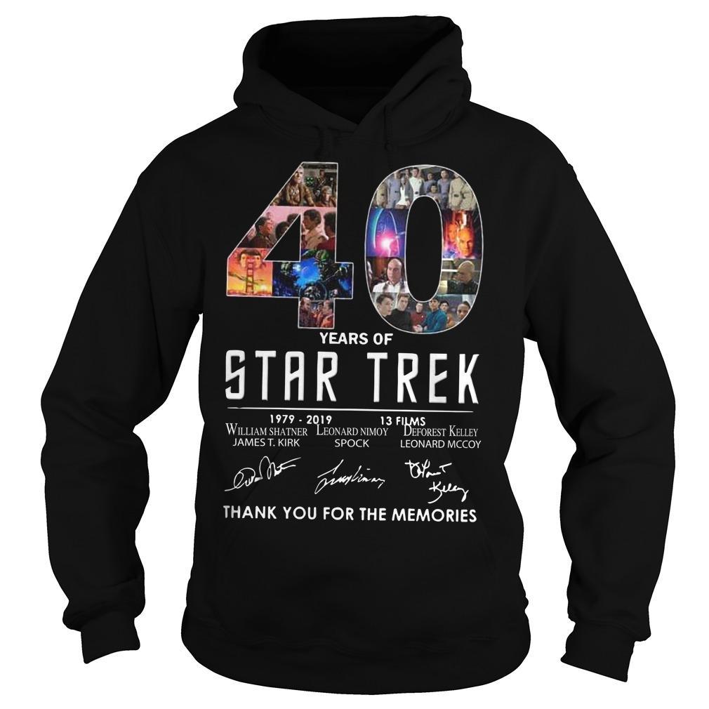 40 Years Of Star Trek 1979 2918 13 Films Thank You For The Memories Hoodie