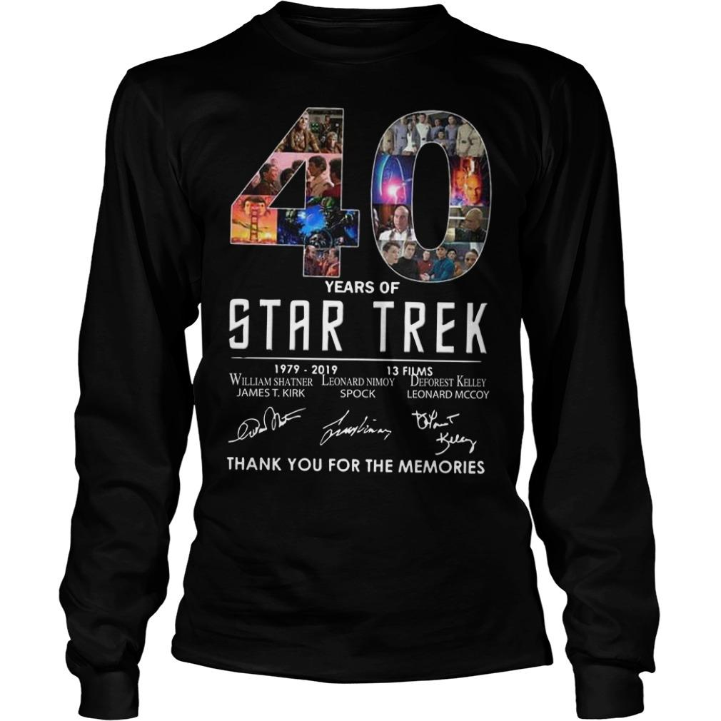 40 Years Of Star Trek 1979 2918 13 Films Thank You For The Memories Longsleeve