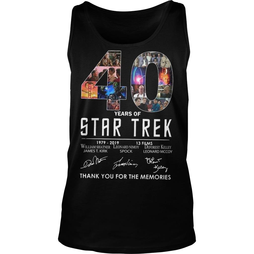 40 Years Of Star Trek 1979 2918 13 Films Thank You For The Memories Tank Top