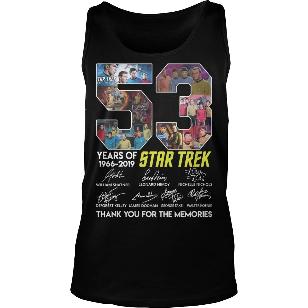 53 Years Of Star Trek 1966 2019 Thank You For The Memories Tank Top