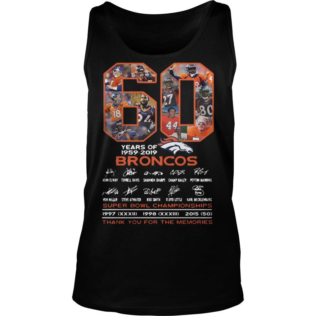 60 Years Of Broncos 1959 2019 Thank You For The Memories Tank Top