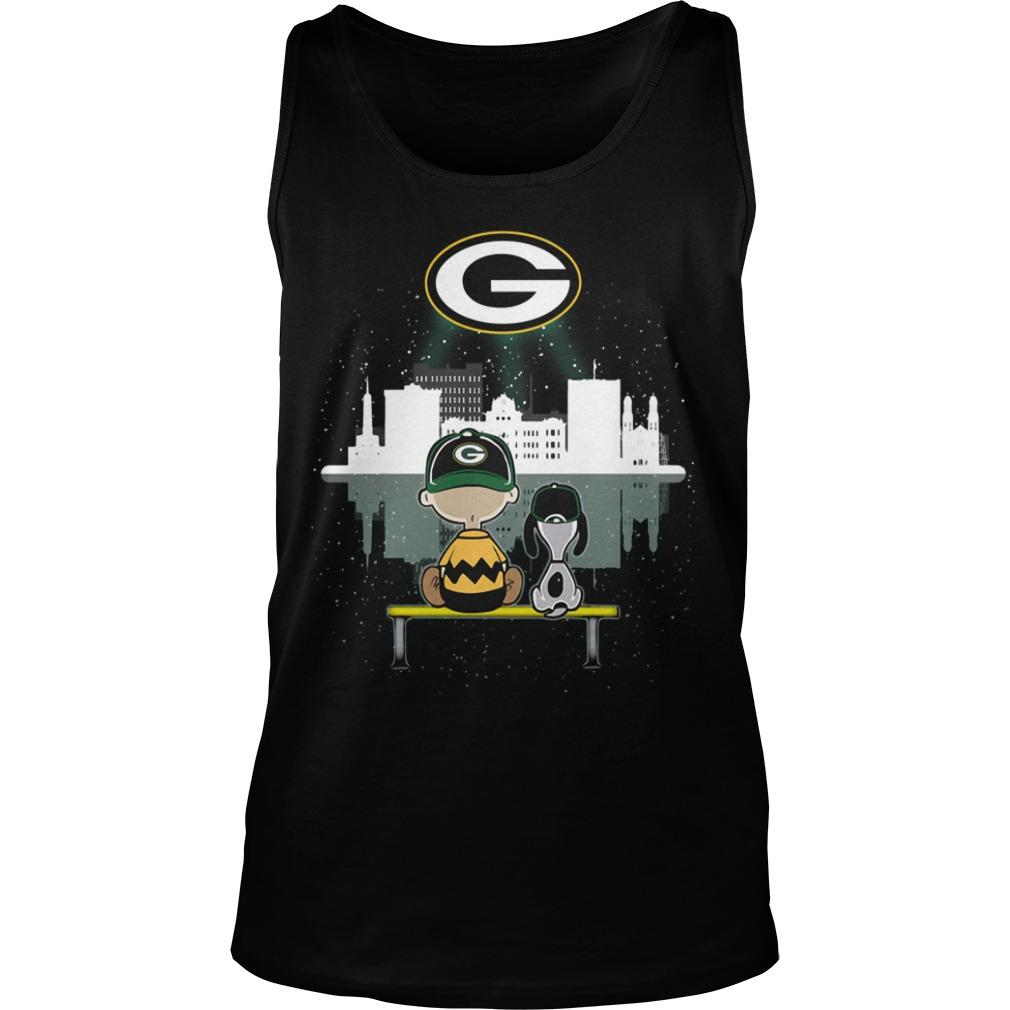 Charlie And Snoopy Green Bay Packer Tank Top