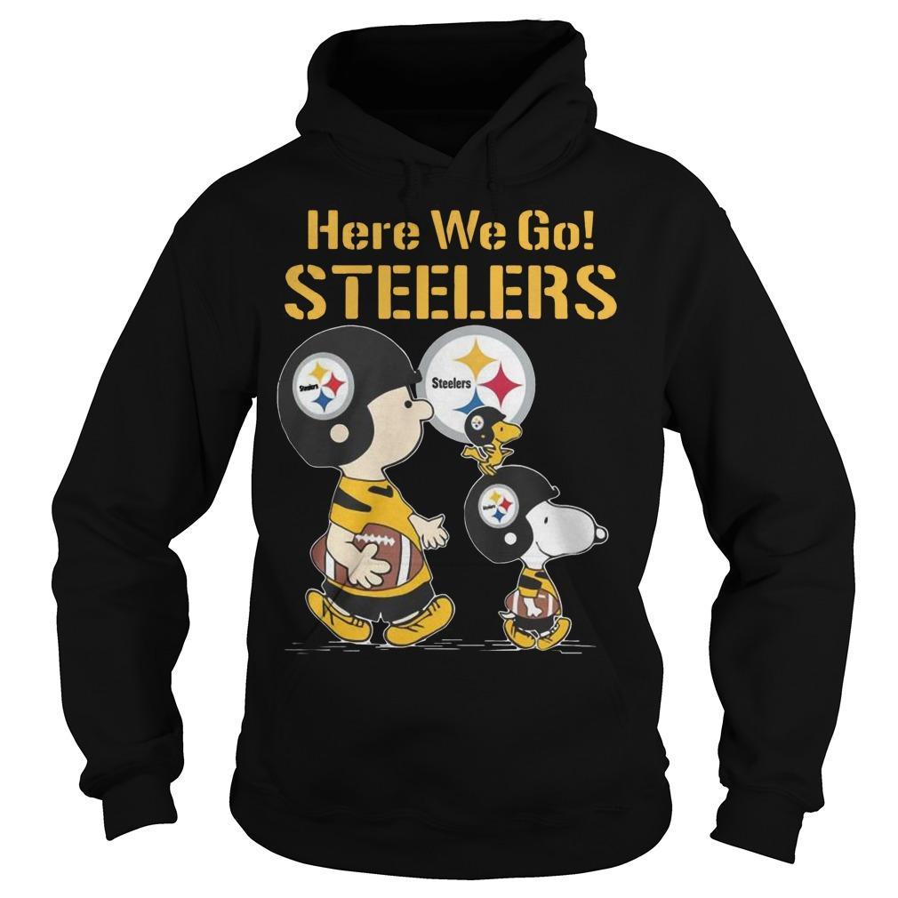 Charlie Brown Snoopy And Woodstock Here We Go Steelers Hoodie